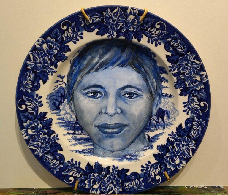 Portret op bord diameter 22 cm