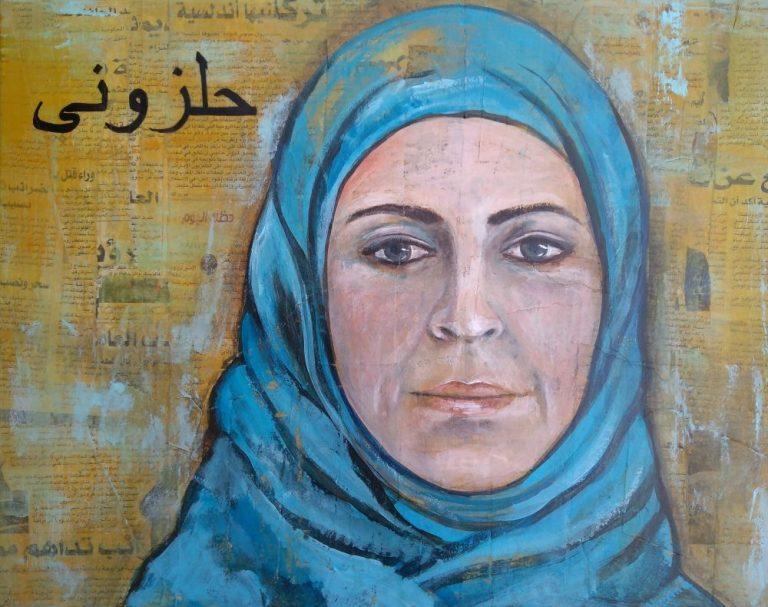 Vrouw op Marokkaanse krant 40 x 50 cm